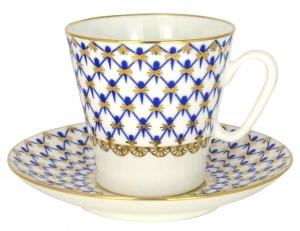 Lomonosov Imperial Porcelain Bone China Black Coffee Espresso Cup and Saucer Cobalt Net 2.71 fl.oz/80 ml