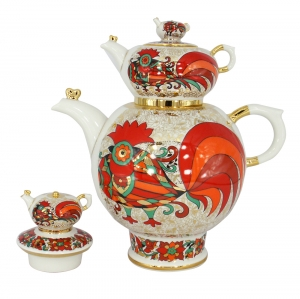 Lomonosov Imperial Porcelain Teapot Set Red Rooster Big and Small
