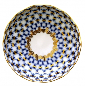 Russian Porcelain Porcelain Jam Jelly Marmalade Dish Tulip Cobalt Net D 3.9
