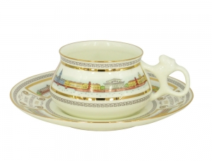 Lomonosov Porcelain Tea Cup Set 2 pc Bilibina Neva Embankment 6 oz/180