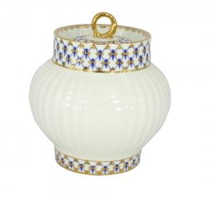 Lomonosov Imperial Porcelain Sugar Bowl Wave Cobalt Net 13.9 oz/390 ml