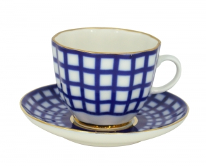 Lomonosov Porcelain Tulip Coffee Cup and Saucer Cobalt Cell 4.7 oz/140 ml