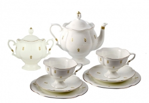Lomonosov Porcelain Tea Set Service Natasha Eyelets 20 pc