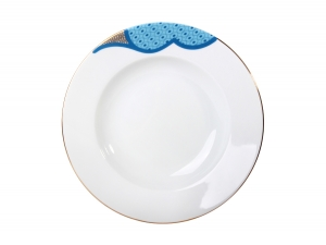 Lomonosov Porcelain Soup Plate European Motive 8.9