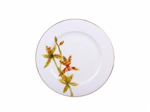 Lomonosov Porcelain Dinner Plate Flowering Yellow Orchid 9.8