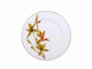 Lomonosov Porcelain Dinner Plate Yellow Orchid 10.6