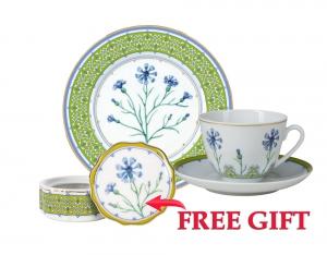 Special Offer Set: Decorative Plate and Teacup with Free Bijou Box Blue Cornflower Lomonosov Porcelain