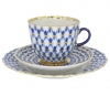 Lomonosov Imperial Porcelain Espresso Coffee Set 3 pc Tulip Cobalt Net