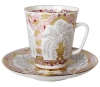 Lomonosov Imperial Porcelain Cup and Saucer Bone China May Golden Vases 5.6 fl.oz/165 ml 2 pc