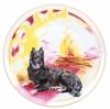 "Decorative Wall Plate 2018 Year of Dog with Bonefire 7.7""/195 mm Lomonosov Porcelain"