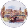 Lomonosov Porcelain Decorative Wall Plate Swan Bridge St.Petersburg