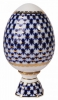Easter Egg on Stand Cobalt Net 22 karat Gold Lomonosov Imperial Porcelain