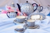 Lomonosov Imperial Porcelain Tulip Cobalt Net Tea Set 6/21