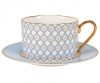 Lomonosov Bone China Porcelain TeaCup And Saucer Azur v.1 8.45 oz 250 ml