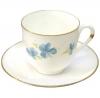 Lomonosov Imperial Porcelain Bone China Espresso Coffee Cup and Saucer Blue Flowers