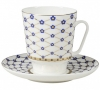 Lomonosov Imperial Porcelain Bone China Cup and Saucer May Cobalt Flower Blues