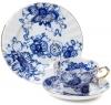 Lomonosov Imperial Porcelain Tea Cup Set 3pc Singing Garden 7.8 oz/230 ml