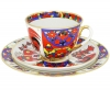 Lomonosov Imperial Porcelain Tea Cup Set 3pc Spring Folk Patterns 7.8 oz/230 ml