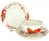 Lomonosov Imperial Porcelain Tea Set 3 pc Tulip Red Butterflies 8.45 oz/250 ml