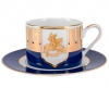 Lomonosov Porcelain Teacup and Saucer Moscow Stars Solo 10.1oz 300 ml