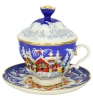 Lomonosov Imperial Porcelain Covered Cup and Saucer Christmas Winter Fairy Tale