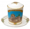 Lomonosov Imperial Porcelain Covered Tea Mug and Saucer Ipatiev Monastery