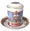 Lomonosov Imperial Porcelain Covered Tea Mug and Saucer Novgorod 12.8 oz