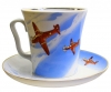 Lomonosov Imperial Porcelain Mug and Saucer Airplanes Leningradskii 12.2 fl.oz/360 ml
