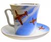 Lomonosov Imperial Porcelain Mug and Saucer Airplanes Leningradskii 12.2 fl.oz/360 ml