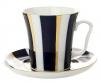 Lomonosov Imperial Porcelain Mug and Saucer Cobalt Stripes Leningradskii 12.2 oz/360 ml