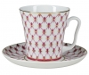 Lomonosov Imperial Porcelain Mug and Saucer Red Net Leningradskii-2 12.2 fl.oz/360 ml