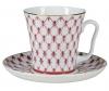 Lomonosov Imperial Porcelain Mug and Saucer Red Net Leningradskii-2 12.2 fl.oz/360 ml