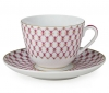 Lomonosov Imperial Porcelain Tea Cup Set Spring Red Net 7.8 oz/230ml