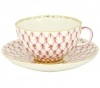 Lomonosov Imperial Porcelain Tea Set Cup and Saucer Tulip Red Net Blues 8.45 oz/250 ml