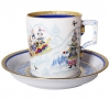 Lomonosov Imperial Porcelain Tea Set Cup and Saucer Winter Fun (4) 7.4 oz/220 ml