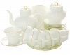 Lomonosov Imperial Porcelain Tea Set Gold Edging WHITE Bone China 6/20