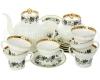 Lomonosov Imperial Porcelain Tea Set Tiny Branches Wave Bone China 6/20