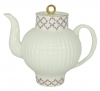 Lomonosov Imperial Porcelain Bone China Tea Pot Wave Pink Net 27 fl.oz/800 ml