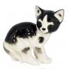 Cat Kitty Black and White Spotted Lomonosov Imperial Porcelain Figurine