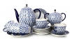 Lomonosov Imperial Porcelain Espresso/Coffee Set Tulip Cobalt Net 21 pc for 6 persons
