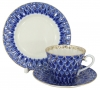 Lomonosov Imperial Porcelain Tea Set 3pc Radiant Forget Me Not 7.9 oz/235ml