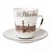 Lomonosov Porcelain Bone China Cup and Saucer May Good-bye St.-Petersburg 5.6 fl.oz/165 ml 2 pc