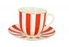 Lomonosov Porcelain Yes and No RED Bone China Espresso Coffee Cup and Saucer 6 oz/180 ml