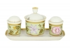 Lomonosov Imperial Porcelain Salt Pepper Spice Set 4 pc Jade Background