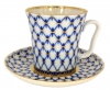 Lomonosov Porcelain Mug and Saucer Leningradskii Cobalt Net 12.2 fl.oz/360 ml