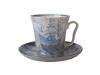 Lomonosov Imperial Porcelain Mug and Saucer Blue Ship Leningradskii 12.2 fl.oz/360 ml
