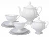 Porcelain Tea Set Natasha Platinum Ribbon 20 pcs 6/20: Tea Pot, Sugar Bowl, 6 Cups with Saucers and 6 Cake Plates