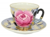 Russian Porcelain Tea Set Cup and Saucer Rose on Black 8.5 fl.oz/250 ml
