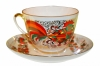 Lomonosov Imperial Porcelain Tea Cup and Saucer Spring Red Rooster 7.8 oz/230 ml