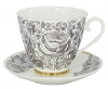 Lomonosov Imperial Bone China Tea Set Carnation Black Summer 2pc 6.8 oz/200 ml